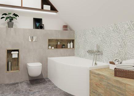 Strefa kąpielowa z mozaika heksagonalną