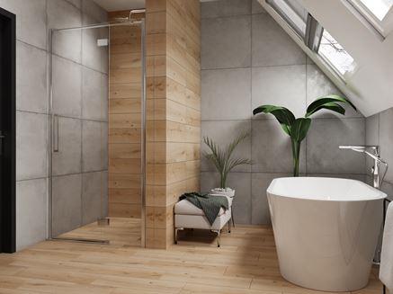 Łazienka na poddaszu w betonie i jasnym drewnie