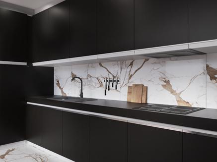Czarna elegancka kuchnia z marmurową płytką Azario