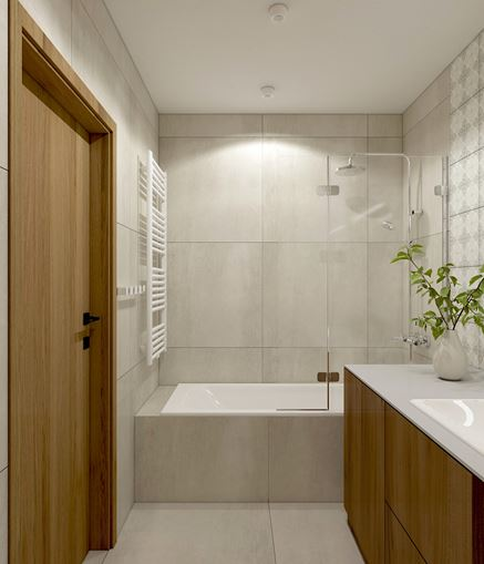 Niewielka łazienka w szarości i drewnie