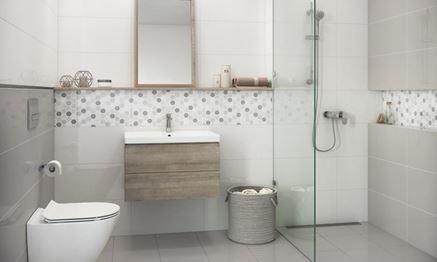 Biel i szarości w łazience - Cersanit Muzi