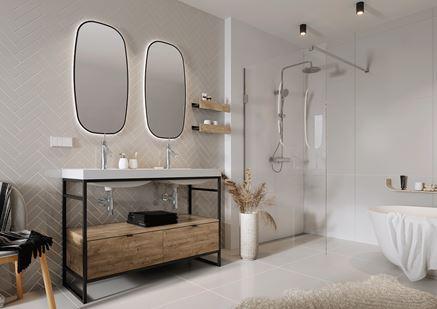 Aranżacja dużej łazienki z jodełkową ścianą w beżach i szarościach