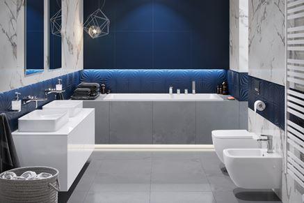 Biało-niebieska łazienka w nowoczesnej aranżacji