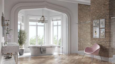 Aranżacja jasnej łazienki z drewnem i cegiełką