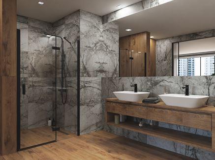Szara łazienka w kamieniu z drewnianymi wykończeniami