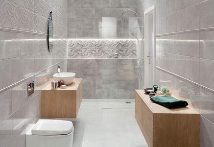 Połyskliwa, szara łazienka z falistymi dekorami Domino Zelandia