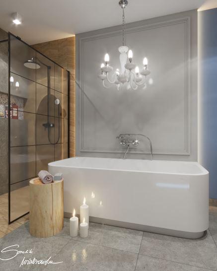 Eklektyczna łazienka z wolnostojącą wanną