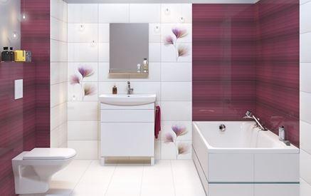Biało-fioletowa łazienka z klasycznym szlifem