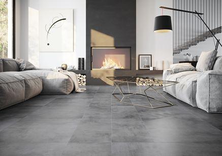 Stylowy salon w płytkach inspirowanych betonem