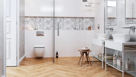 Biel i drewno w łazience-Opoczno Flower Cemento White