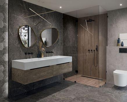 Szary kamień w aranżacji nowoczesnej łazienki