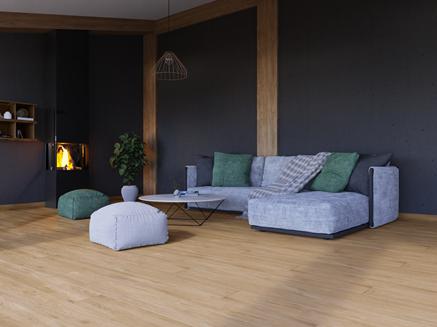 Przestrzeń wypoczynkowa w salonie wykończonym drewnem