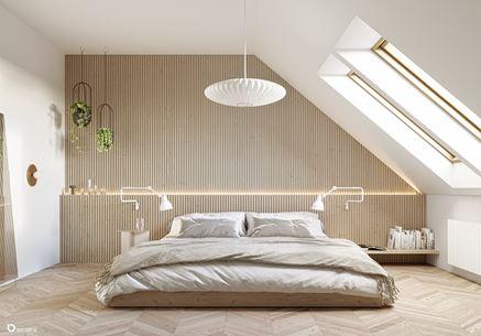 Trójwymiarowa ściana w sypialni skandynawskiej