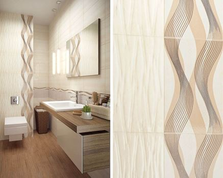 Płytka strukturalna i dekory w aranżacji beżowej łazienki