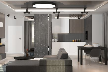 Salon z aneksem w projekcie pracowni Patryk Kowalski Design