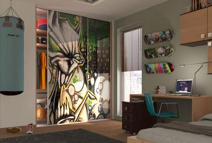 Pokój nastolatka z motywami graffiti