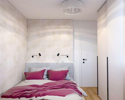 Sypialnia z jasną, tropikalną tapetą