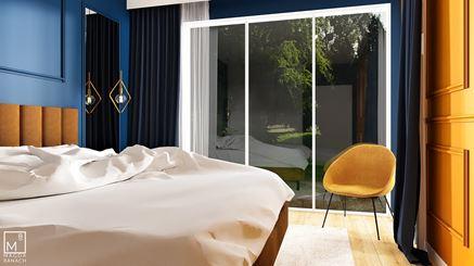 Niebiesko-żółta sypialnia