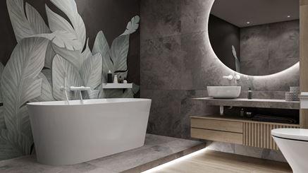 Szara łazienka z florystycznym motywem na ścianie