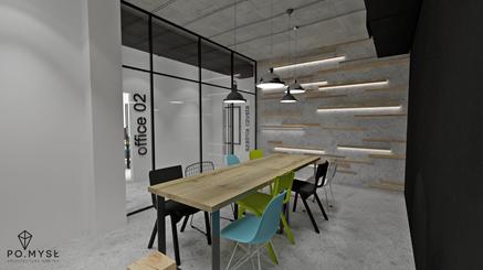 Sala konferencyjna w biurze w stylu industrialnym