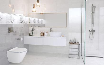 Ponadczasowa biel i szarości w łazience - Cersanit Grissa
