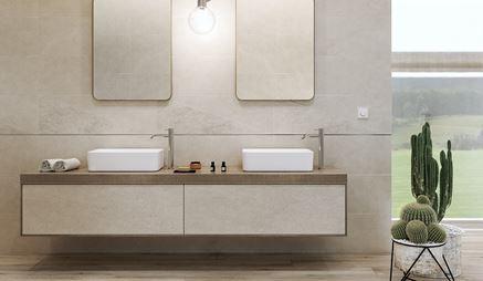Beżowa łazienka z betonowymi płytkami