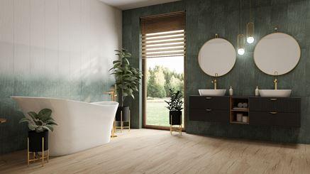 Zielona łazienka w kaflach Paradyż Nightwish