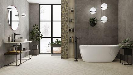 Aranżacja dużej łazienki w stylu industrialnym
