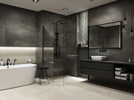 Nowoczesna łazienka w brązowym kamieniu z mozaiką