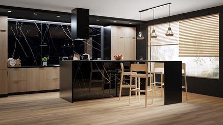 Nowoczesna kuchnia w ciepłym drewnie i czarnym kamieniu