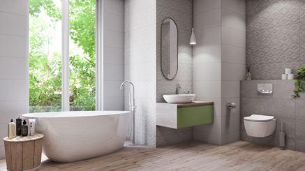Nowoczesna łazienka w biało-szarej strukturze