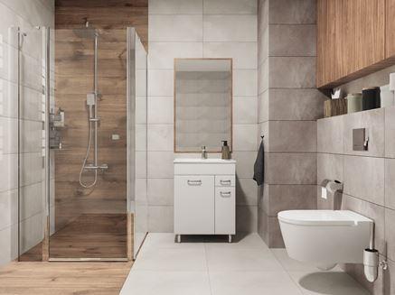 Szara łazienka w kamieniu z elementami drewna