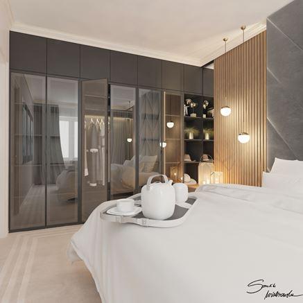 Garderoba w szarej sypialni