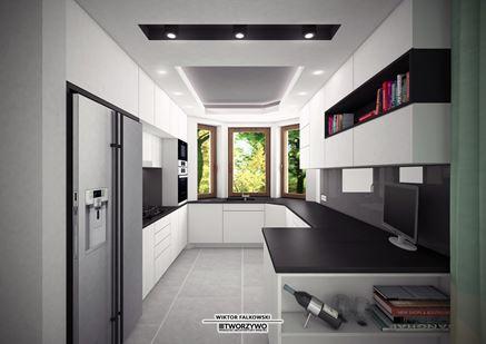 Biało - czarna kuchnia otwarta