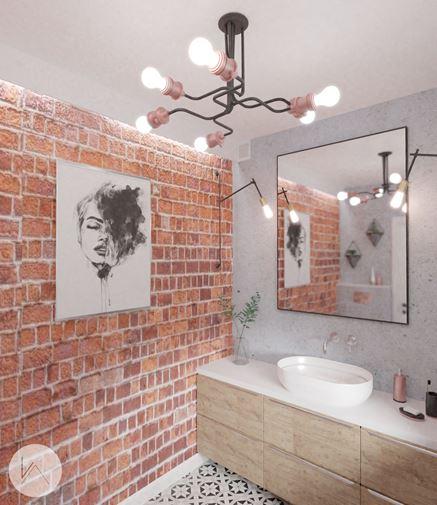 Surowo i przytulnie - łazienka w cegle