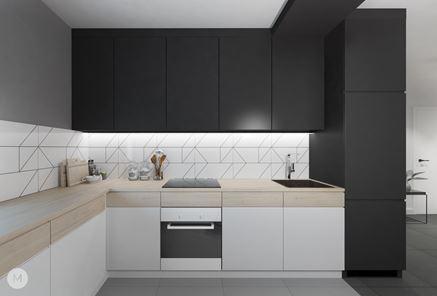 Czarno-biała zabudowa kuchenna z dodatkiem drewna