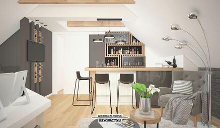 Rekreacyjne poddasze w domu - nowoczesny bar z drewnianą zabudową