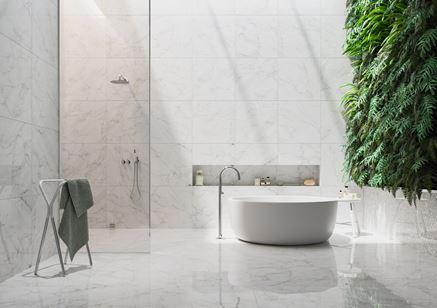 Salon kąpielowy w bieli Frost White