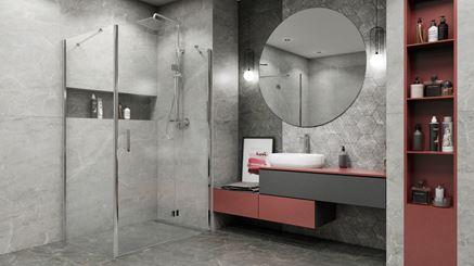 Szara łazienka w kamieniu Paradyż Marvelstone