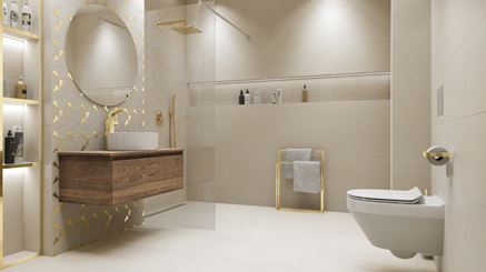 Łazienka glamour ze złotymi detalami