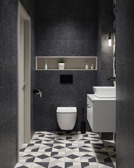 Antracytowa toaleta z dekorami Paradyż Moondust