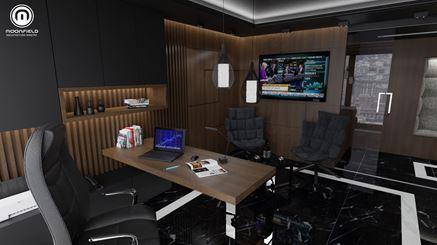 Projekt nowoczesnego biura w czerni