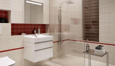 Jasna beżowa łazienka z energetyczną czerwienią