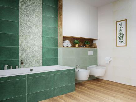 Strefa kąpielowa i toaletowa w zieleni z dodatkiem drewna i bieli