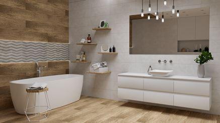 Aranżacja łazienki w bieli i brązie