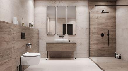Nowoczesna łazienka w drewnie i marmurze