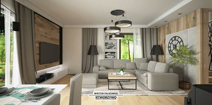 Nowoczesny salon z drewnem i betonem