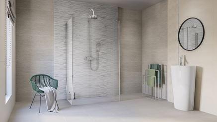 Biało-szara łazienka z dekorami Azario Mareda