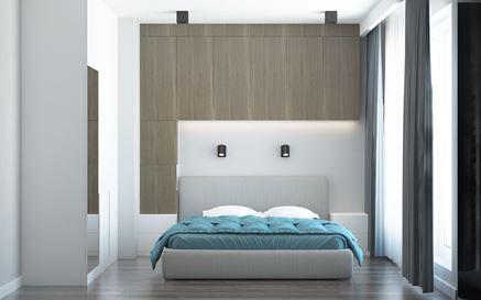 Nowoczesna sypialnia z ciemną, drewnianą zabudową