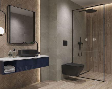 Nowoczesna łazienka wykończona płytkami z rysunkiem drewna